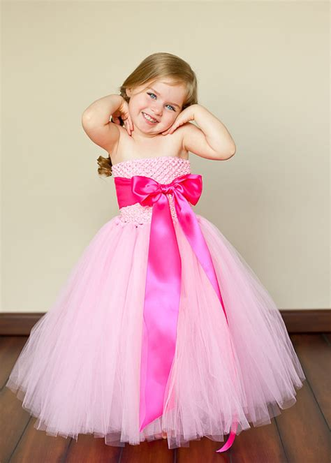 Dress Tutu Girly pink and pink flower tutu dresses