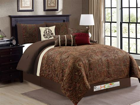 burgundy and gold comforter set king 7 pc londyn chenille floral scroll damask comforter set