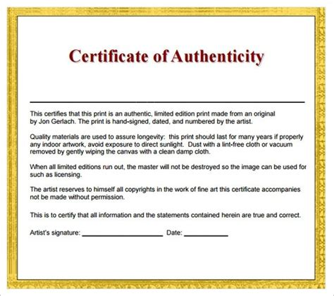 art certificate of authenticity template the best letter