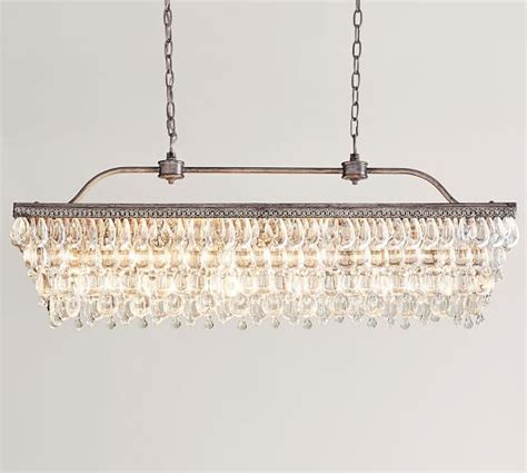 Clarissa Crystal Drop Rectangular Chandelier Pottery Barn Rectangular Chandelier