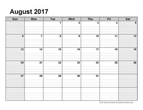 Printable Calendar 2017 Best And Free August 2017 Calendar Printable Template