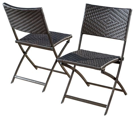 contemporary folding chairs jason outdoor brown wicker folding chair set of 2
