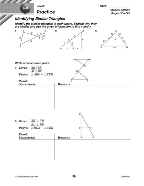Similar Triangles Worksheet Answers by Worksheets Similar Triangles Worksheets Opossumsoft