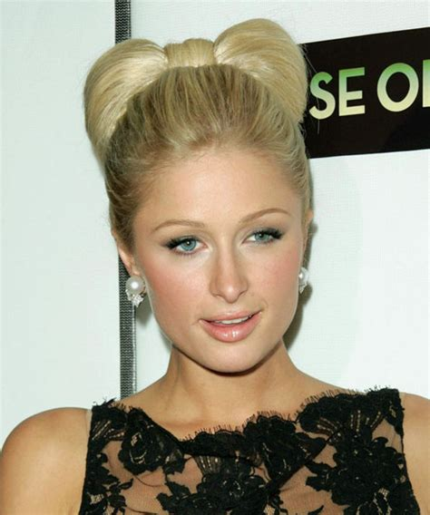 hairstyles that can be done with plats paris hilton updo medium straight formal wedding updo