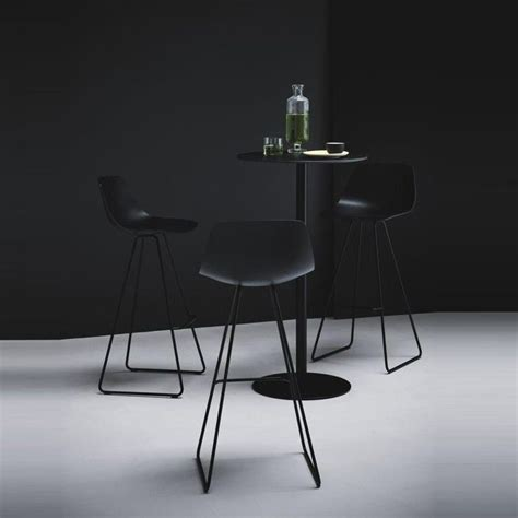 La Palma Miunn Bar Stool by Miunn Bar Stool Skid Legs Black La Palma