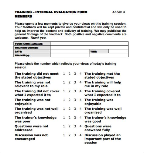 8 Training Evaluation Forms Sles Exles Format Sle Templates Course Evaluation Template