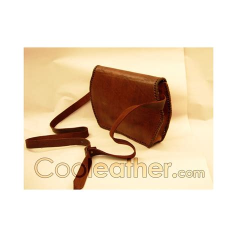 Handmade Leather Purse - handmade brown leather handbag with stitches