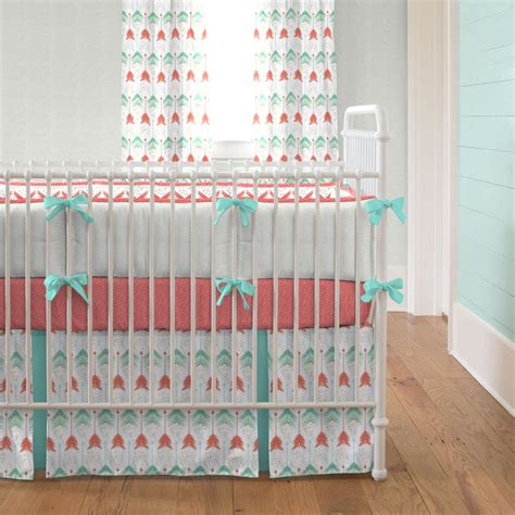 coral crib bedding sets coral and teal arrow crib bedding carousel designs