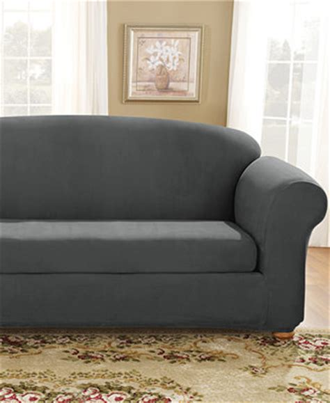 suede slipcovers for sofas sure fit stretch suede box cushion sofa slipcover
