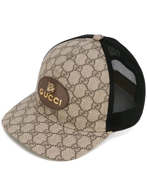 gucci gg supreme baseball hat in brown for lyst