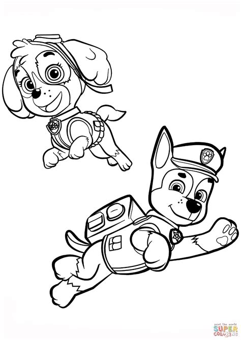 coloring pages paw patrol chase chase and skye coloring page free printable coloring pages