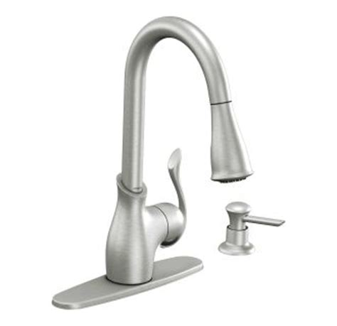 moen boutique kitchen faucet moen ca87006srs spot resist stainless kitchen faucet with pullout spray and soap dispenser from