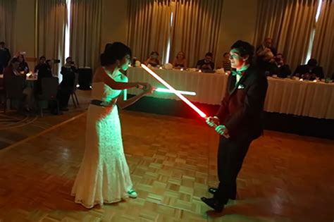 Wedding Lightsaber by Groom Skip For Wars Lightsaber Duel