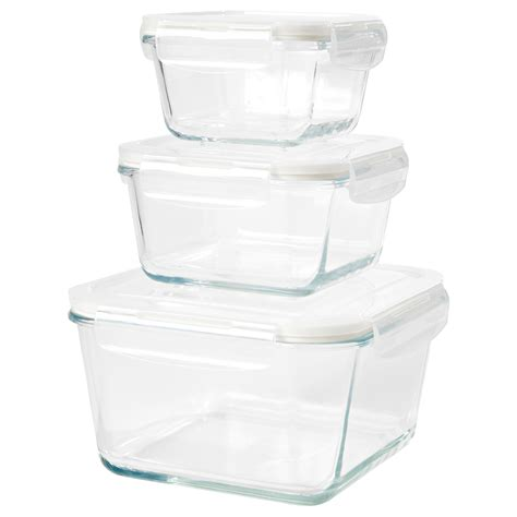 ikea food storage f 214 rtrolig food container set of 3 clear glass ikea