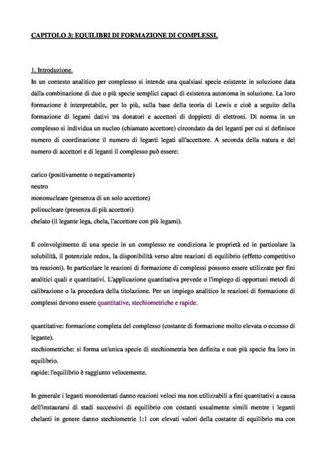 Chimica Analitica Dispense by Equilibri Di Formazione Di Complessi Dispense