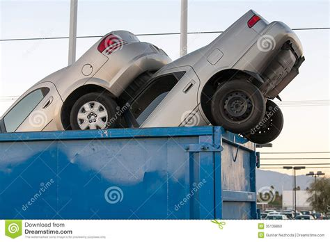 Car Dumpster by Junk Cars In Dumpster For Clunkers Stock Photo