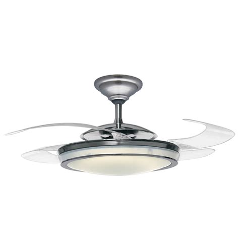 Ceiling Fans With Lights At Lowes Shop Fanaway Retractable Blade 48 In Brushed Chrome Downrod Mount Ceiling Fan With Light