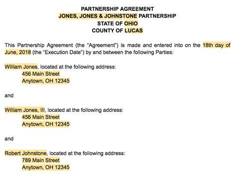 create  business partnership agreement