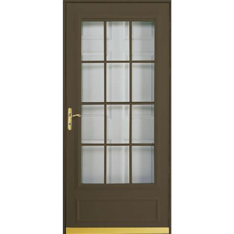 pella retractable screen door pella cheyenne brown mid view safety retractable screen storm door common 36 in x 81 in actual
