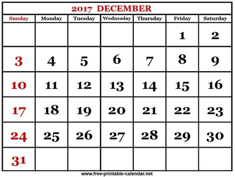 print 2017 december calendar
