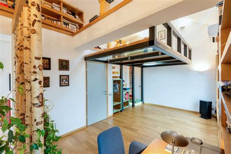 2 floor bed this lofted bedroom boasts a glass floor living in a shoebox