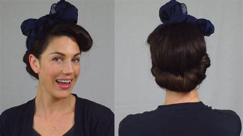easy pin up hairstyle vintage scarf roll updo