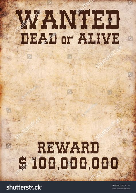 Wanted Search Wanted Poster Dead Or Alive Stock Foto 94176334