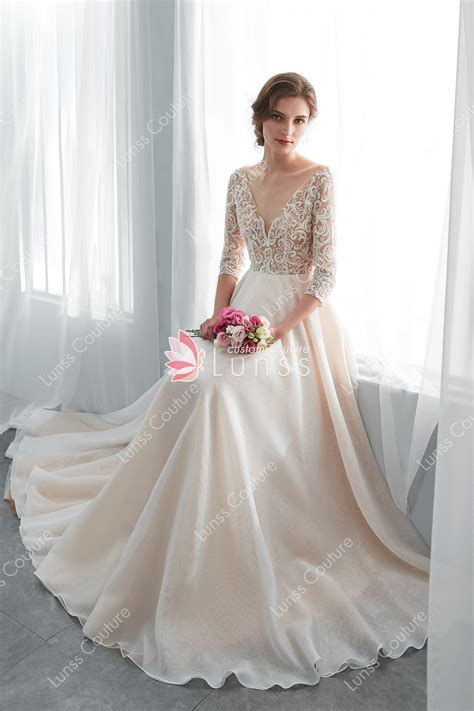 champagne beaded lace organza wedding gown   sleeve