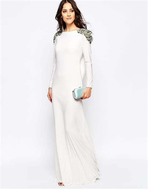 Calista Maxi Dress lyst forever unique calista sleeve maxi dress with embellished shoulders and open back