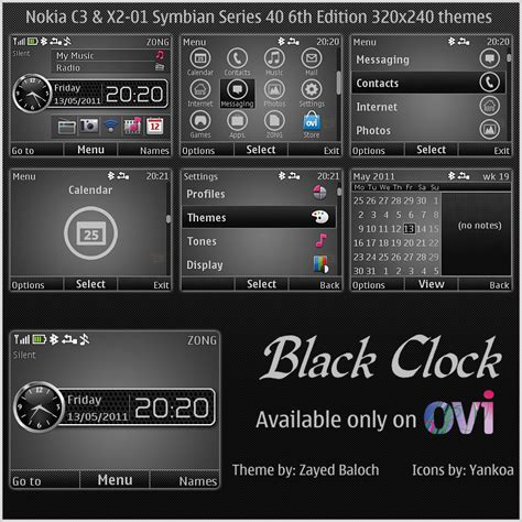 themes nokia x2 01 mobile9 black clock theme for nokia c3 x2 01 themereflex