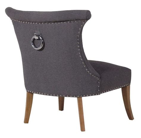 grey wide studded dining chair with silver ring