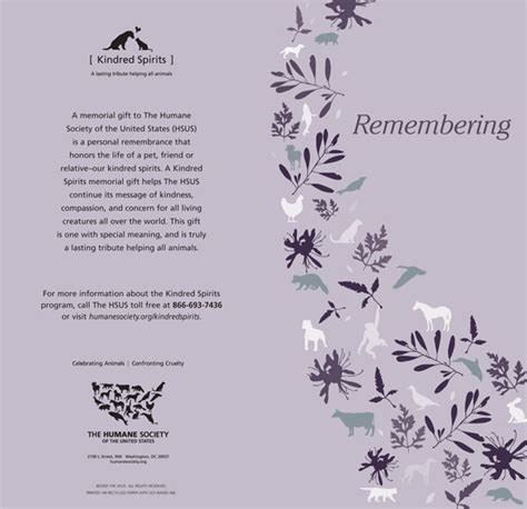 memorial donation card template protect animals give a gift the humane society of the