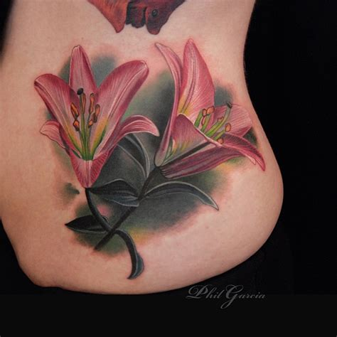 pink lilies side tattoo best tattoo design ideas