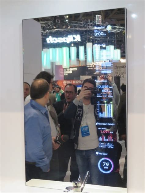 smart mirror bathroom toshiba s smart mirror concept puts the future on display images