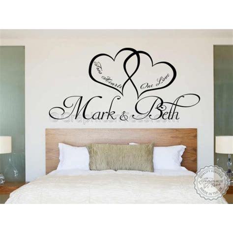 romantic wall stickers for bedrooms bedroom wall art personalised bedroom wall sticker two hearts one love romantic