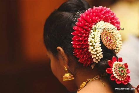 Tamil Wedding Hairstyle With Flowers by Poojadai In Tamilnadu Poojadai