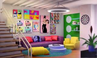 Retro Room Decor Family Room With Gorgeous Furniture Of Purple Sofa Also Pink Cushions Again Yellow