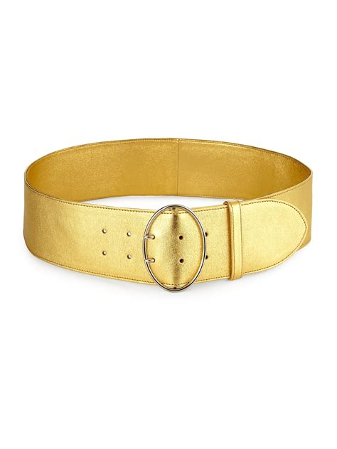 prada wide metallic leather belt in metallic lyst