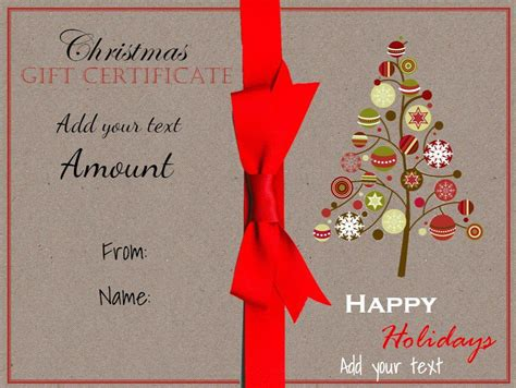 Free Christmas Gift Certificate Template Customize Online Download Present Template