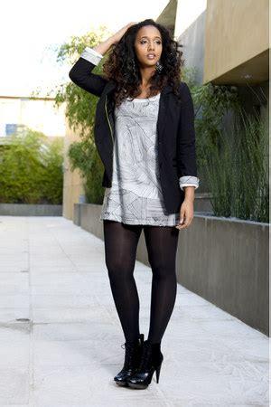 black white dress with tights white dresses black blazers black tights gray