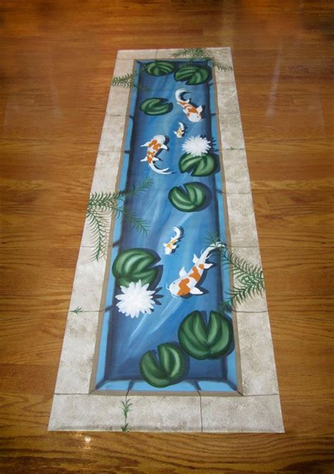 koi pond rug koi fish pond floorcloth runner by kellygoodbrad on etsy 180 00 i this and she has