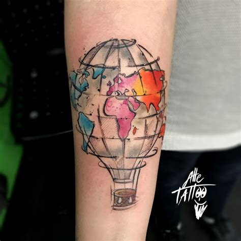 tattoo old school mongolfiera tatuaggio mongolfiera hotairballoon watercolor