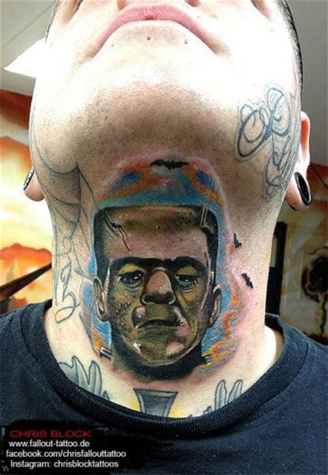 neck frankenstein chin tattoo by fallout tattoo