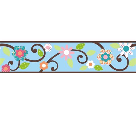 Wall Stickers Borders scroll floral wall sticker border blue brown stickers