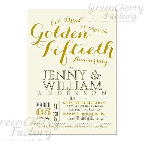 Wedding Anniversary Lunch Ideas by Golden 50th Wedding Anniversary Invitation Idea Font