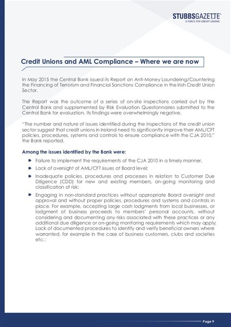 Credit Policy Template Uk stubbsgazette aml cft ebook for credit unions