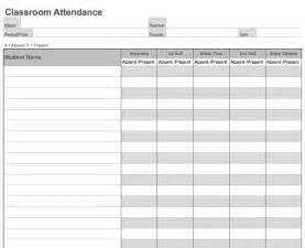 classroom register template daily classroom attendance sheet template printable
