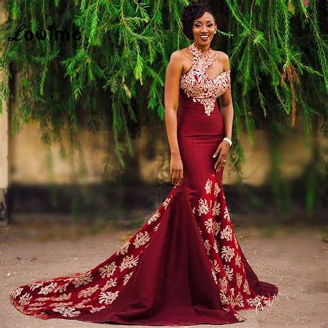 indian hairstyles on evening gowns sexy long burgundy african wine red gold lace mermaid prom