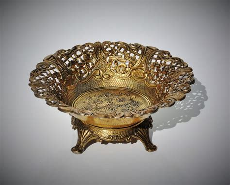 vintage brass footed bowl baroque rococo style made in