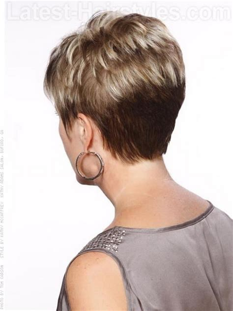 front and back views of chopped hair back view of short haircuts for women